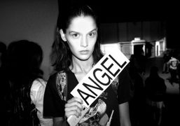 Angel Rutledge backstage at the Proenza Schouler S/S 2015 show, New York. Photo Olivier Zahm