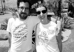 Philip and Sarah Andelman after brunch at Elmer's, Palm Springs. Photo Doug…