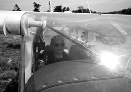 The artist Hanna Liden in a helicopter visiting Annabel Mehran in New…
