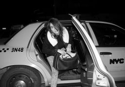 Natacha Ramsay-Levi stepping out of a New York Taxi. Photo Olivier Zahm