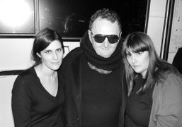 Laura and Kate Mulleavy with Michel Gaubert after the Rodarte F/W 2012 Show,…