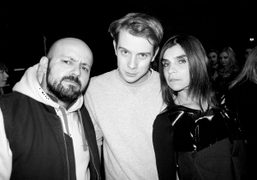 Michael Amzalag, J.W. Anderson, and Carine Roitfeld after the J.W. Anderson F/W…