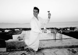 Vincent Darré back from the beach, Soros, Antiparos. Photo Olivier Zahm