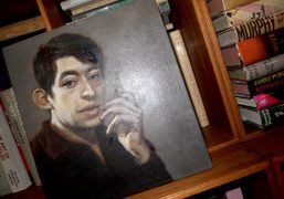 A painting of Serge Gainsbourg by a young artist at Glenn O'Brien's place, New York. Photo…