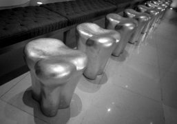 Philippe Starck's Tooth Stools in the lobby of the Saint Martin's Lane…