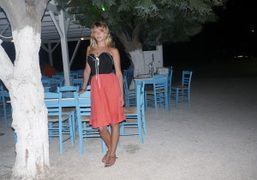 Annabelle Dexter-Jones, last dinner at Capitain Pipinos (in operation in Agios Georgios…