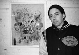 Erik Foss in front of one of his new works on the…