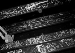 A bench with graffiti, Paris. Photo Olivier Zahm