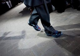A pair of Adidas by Raf Simons limited edition sneakers presented at…