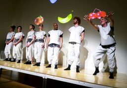Artist Xavier Cha's new performance Fruit Machine 2: Synesthesia with outfits designed by Eckhaus Latta at the New…