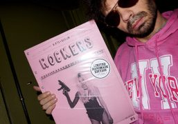 Olivier Zahm with a handmadelimited edition of Rockers by Kate Bellm atPurple…