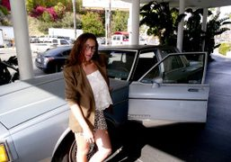 Emilie Karehin front of her car at the Standard, West Hollywood. Photo…