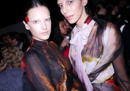 Alessandra Ambrosio and Jamie Bochert at the backstage of the Givenchy F/W 2014…