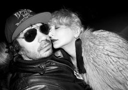 Olivier Zahm and Catherine Baba before Jeremy Scott's debut Moschino F/W 2014 show, Milan. Photo…