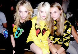 Cory Kennedy, Sky Ferreira, and Cara Delevigne at the Jeremy Scott S/S 2013 show, New York. Photo Stéphane Feugère