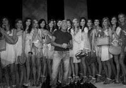 Giorgio Armani at the end of his Spring/Summer 2013 show, Milan. Photo…