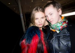 Magdalena Frackowiak and Caroline Gaimari after the Sonia Rykiel F/W 2014 show, Paris….