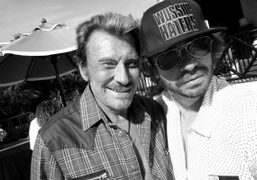 Legendary French musician Johnny Hallyday and Olivier Zahm at Johnny's Pacific Palisades…