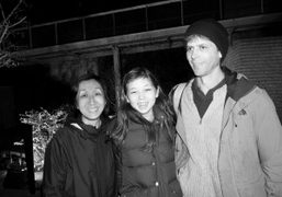 Purple photographer Anders Edström, his wife Yoshiko Edström and theirdaughter at outside…