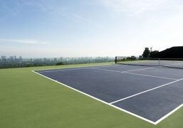 The tennis court at James Goldtstein's house, Los Angeles. Photo Olivier Zahm