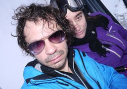 Olivier Zahm and Natacha Ramsay-Levy in their first day of ski, Meribel,…
