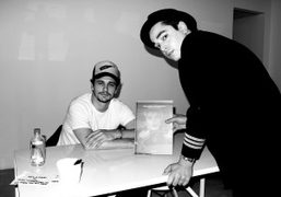 James Franco and Gavin Doyle at James Franco'sMoving Pictures/Moving Sculptures book signing…