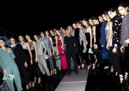 Giorgio Armani at the finale of his Giorgio Armani F/W 2015 Show, Milan. Photo…