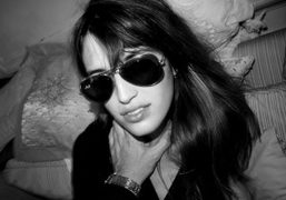 Jeanne Damas with my Raybans during the shoot for Yasmine Eslami's Lingerie…