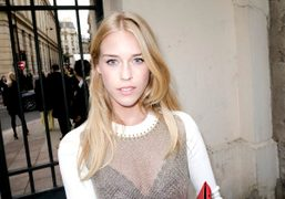 Mary Charteris after the Moncler Gamme Rouge S/S 2013 show, Paris. Photo…