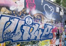 Graffiti on the wall of Serge Gainsbourg's house on the Rue de…