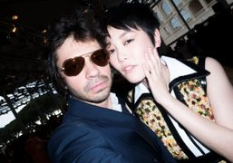 Olivier Zahm and Rinko Kikuchi at Louis Vuitton Cruise 2015 show, Monaco….