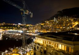 A view of Monaco at night from the Hotel Hermitage Monte-Carlo, Monoco….