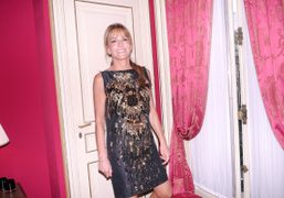 Patricia Della Giovampaola D'Arenberg wearing a Lanvin dress in her apartment, Paris….