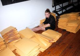Grace Difford preparing the mailout of the new issue of Purple Fashion…