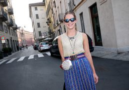 Eugenie Niarchos on the street after the Missoni Spring/Summer 2012 show, Milan….