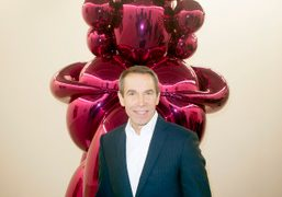 Jeff Koons private tour of his new exhibition at Almine Rech Gallery,...