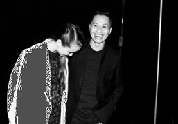 Phillip Lim and a friend after his show, New York. Photo Skylar Williams