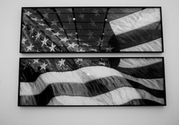 Robert Longo's lastest rendition of the American flag at Metro Pictures' Frieze...