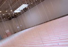 One view of Glasgow-based sculptor Karla Black's installation on view through April…