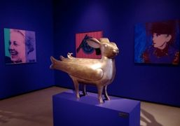 A work by Francois-Xavier Lalanne surrounded by Andy Warhol canvases featured in…