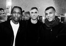 A$AP Rocky, Raf Simons and Stromae backstage at Raf Simons F/W 2015…