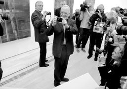 Gerhard Richter at the opening of his solo show at Fondation Beyeler,…
