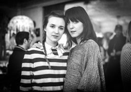 Valentine Fillol-Cordier and Irina Lazareanu at Savannah Miller's tea for her new collection…