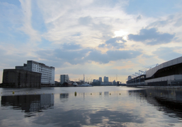 The last sunset of the Olympics at the ExCel Exhibition Centre, East…
