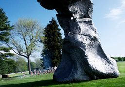 Urs Fischer's sculpture photographed within the grounds of the the Brant Foundation…
