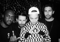 Virgil Abloh, Marcelo Burlon, G-Dragon and Chris Stamp at the Pompon pop-up club party…
