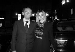 Carine Roitfeld and her favorite driver in Milano, outside of the Gucci…