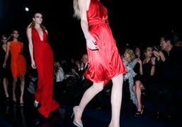 A radiant red at Versace F/W 09/10 show, Milan