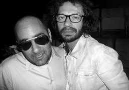 Ezra Petronio and Olivier Zahm switch glasses at the Vitamin Water Pop…