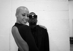 Kanye West and Amber Rose backstage at the Yves Saint Laurent show,…